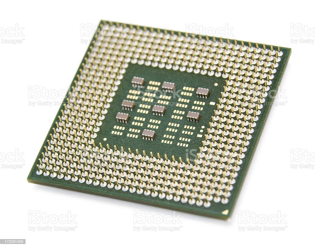 Isolated Computer Microchip (CPU) royalty-free stock photo