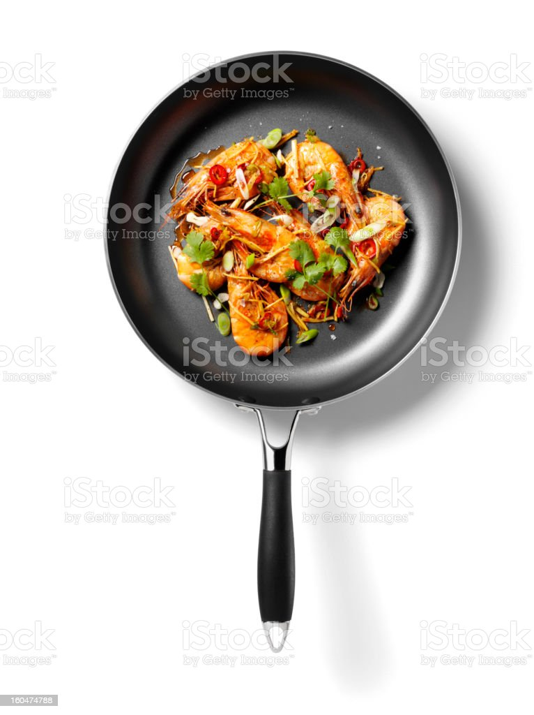 Isolated Cooked King Prawns stock photo