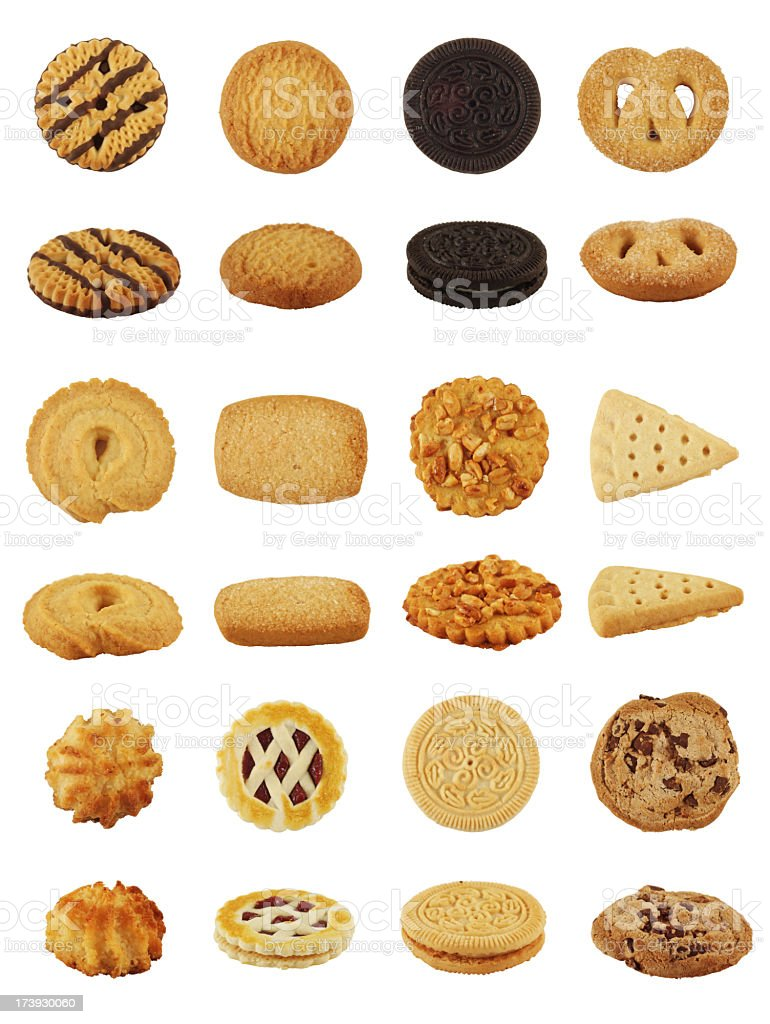 Isolated Cookie or Biscuit Collection royalty-free stock photo
