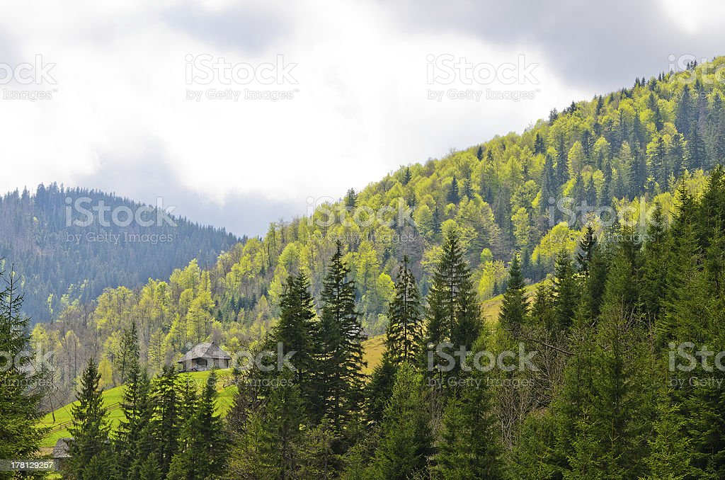 Isolated cottage in the midst of lush mountains royalty-free stock photo
