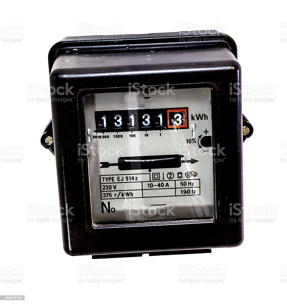isolated counter of electrical energy consumption with the numbe stock photo