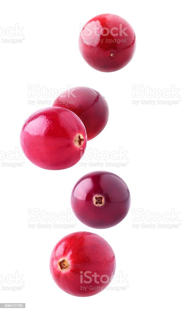 Isolated cranberries falling stock photo