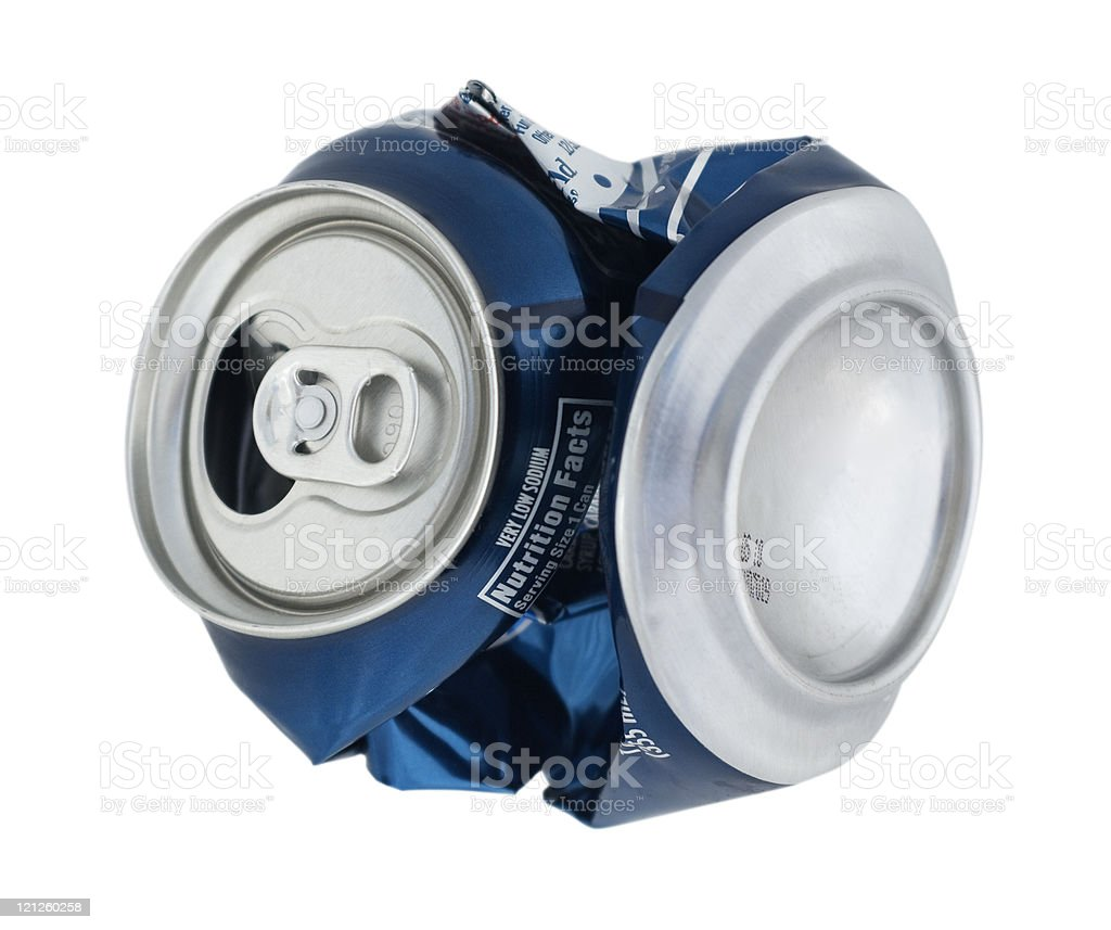 Isolated Crushed Can royalty-free stock photo