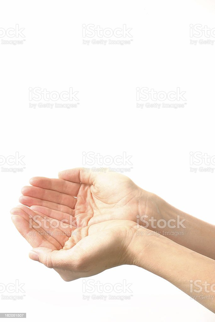 Isolated Cupped Hands royalty-free stock photo