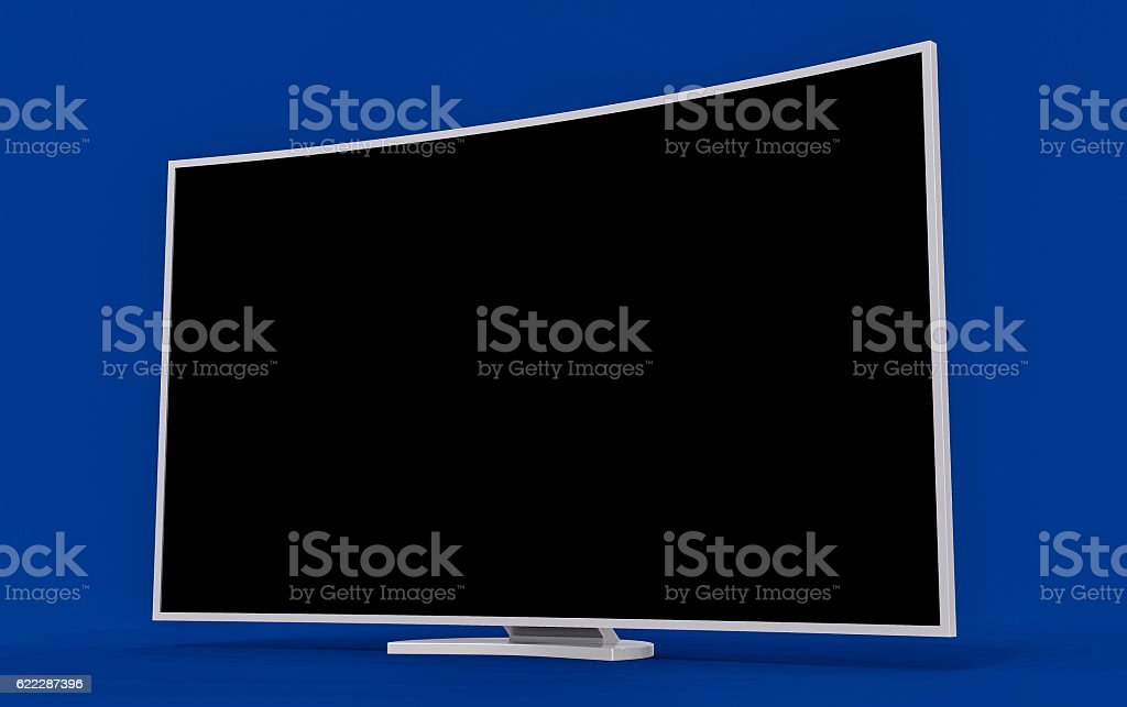3D Isolated Curved TV Screen. LED Smart LCD 1080p. stock photo