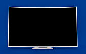 3D Isolated Curved TV Screen. LED Smart LCD 1080p.