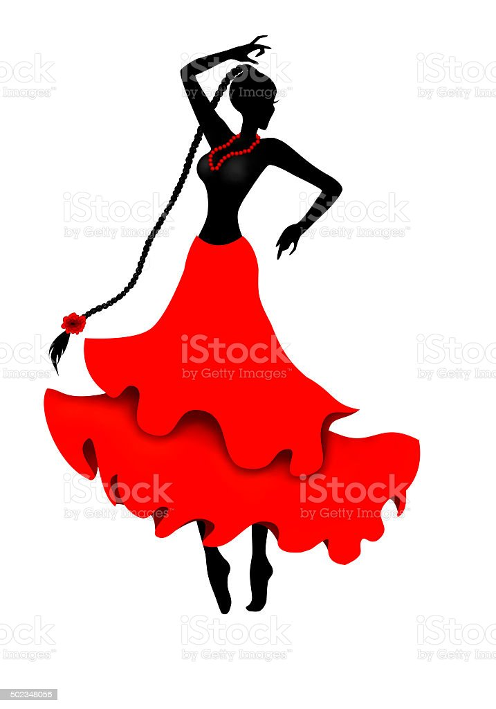 Isolated dancing girl silhouette illustration stock photo