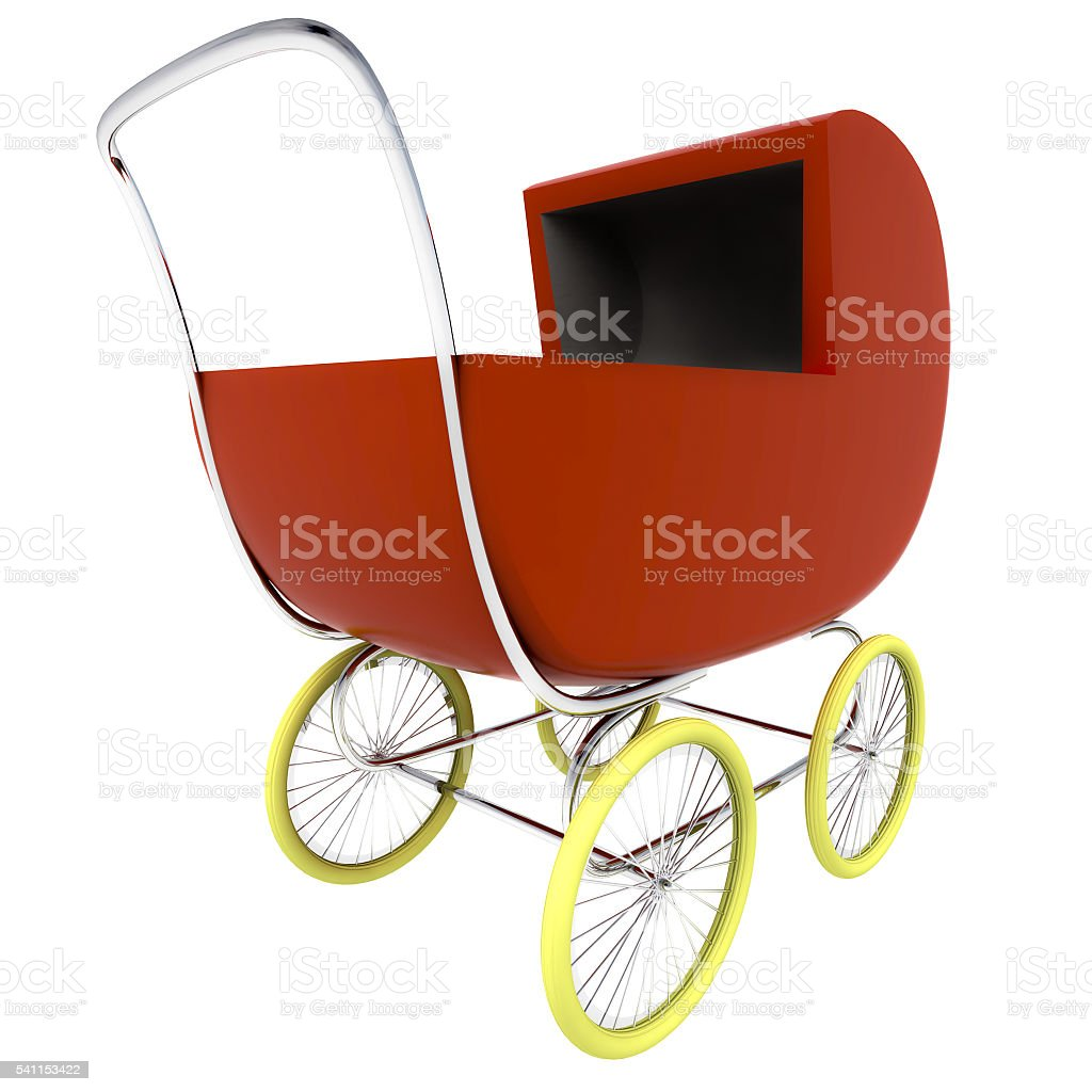 isolated dark red baby-carriage perspective clip art stock photo
