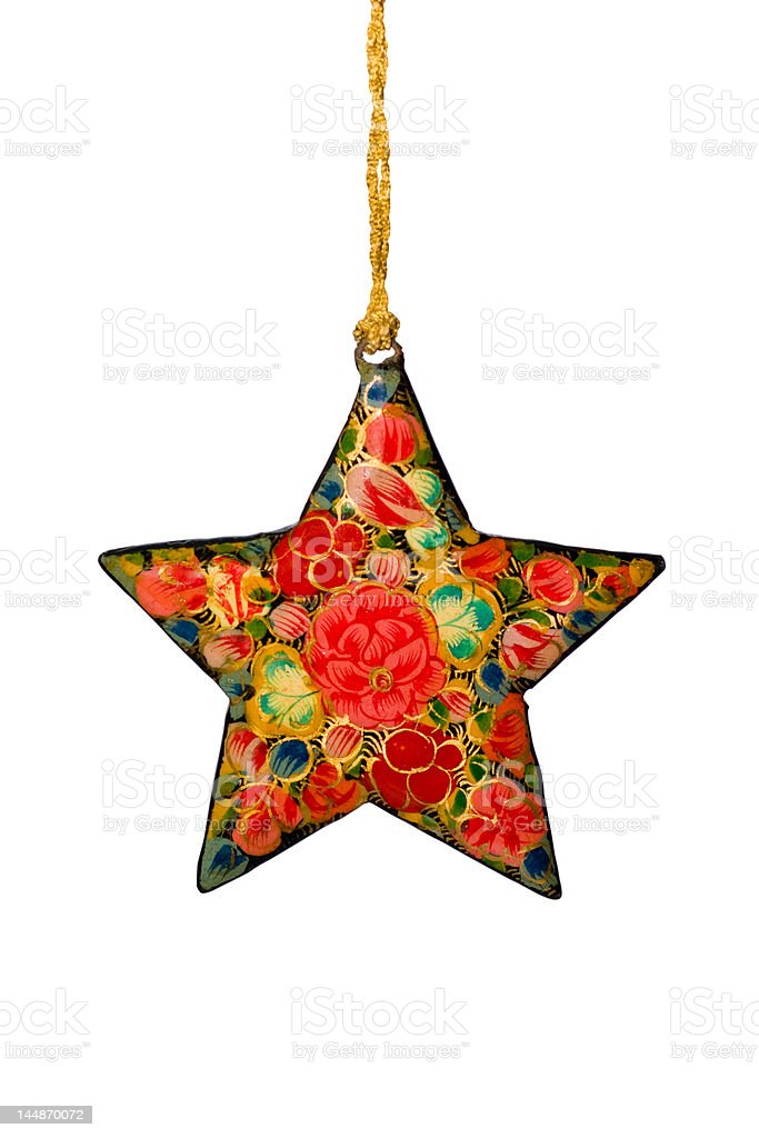 Isolated, Decorated Christmas Star with Clipping Path stock photo
