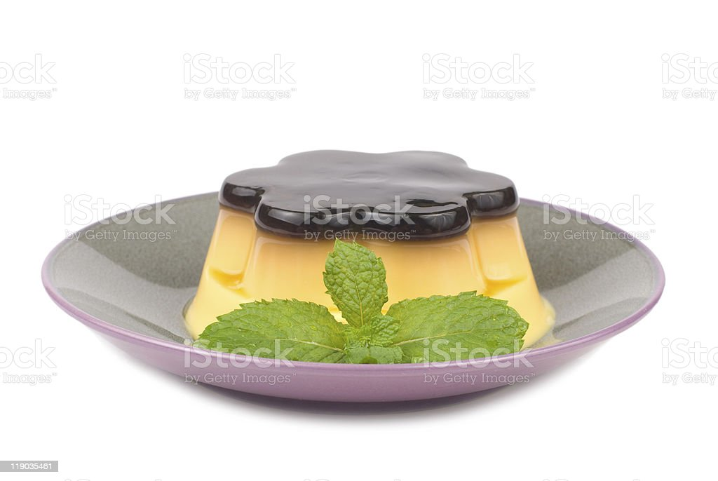 isolated Delicious egg pudding with mint royalty-free stock photo