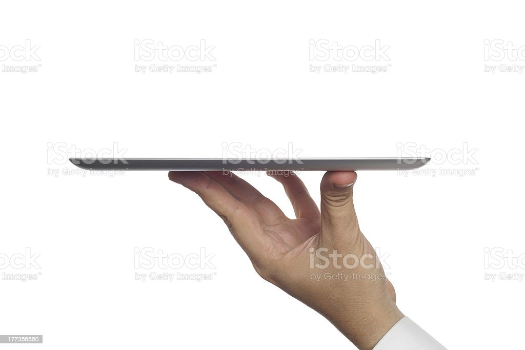 isolated digital tablet computer in hand stock photo