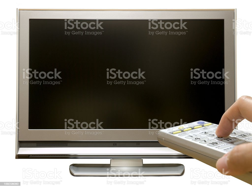 Isolated digital television and remote control royalty-free stock photo