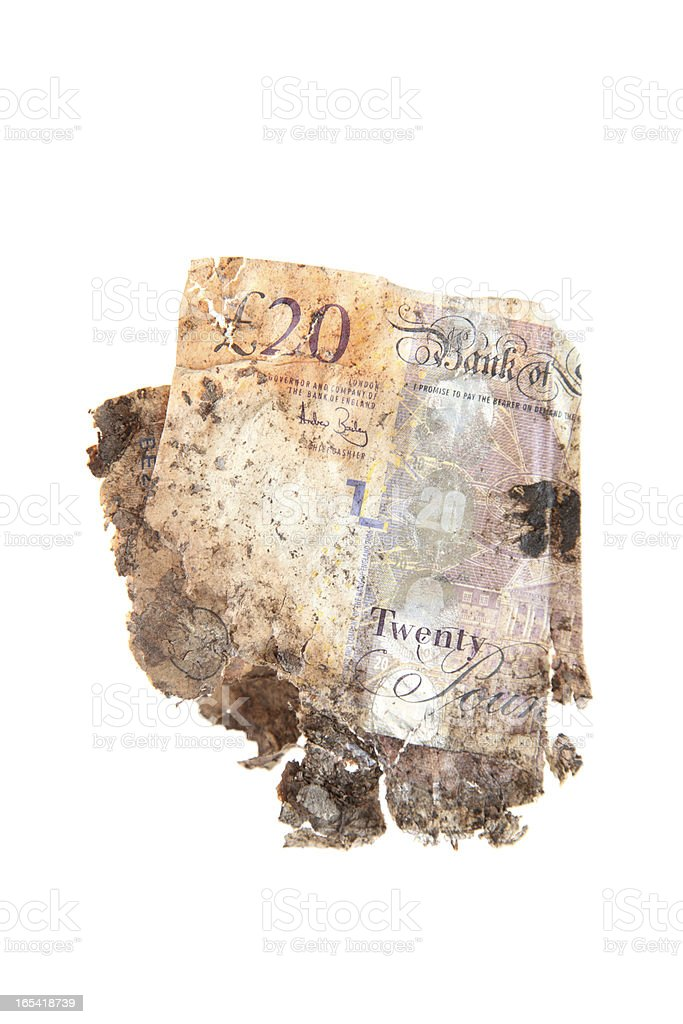 isolated dirty money damaged twenty pound notes stock photo