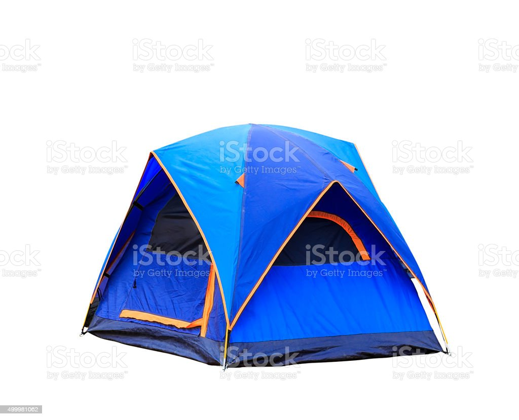 Isolated dome tent on white stock photo