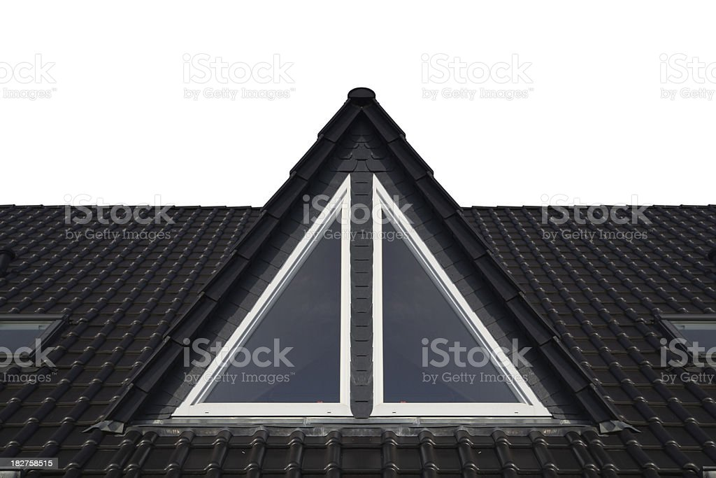 Isolated dormer window on rooftop stock photo
