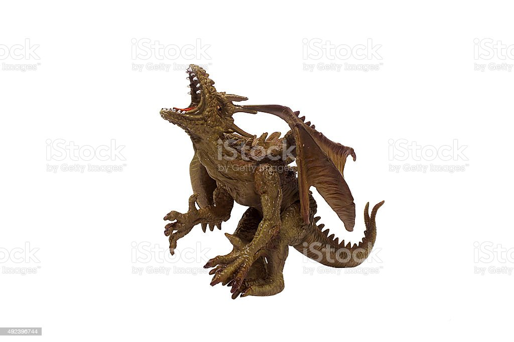 Isolated dragon toy photo. stock photo