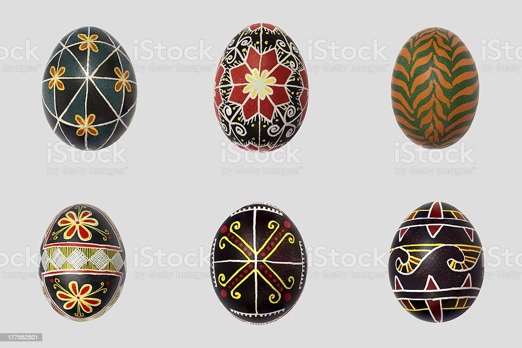 Isolated easter eggs pack. Pisanka - russian folk art royalty-free stock photo