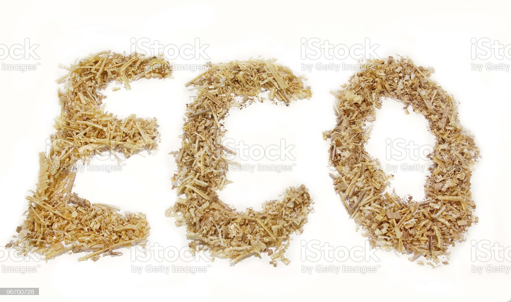 Isolated Eco word of sawdust royalty-free stock photo