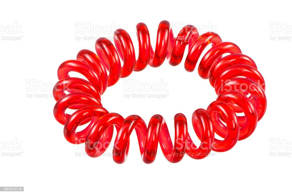 Isolated Elastic Red Spiral Hari Tie stock photo