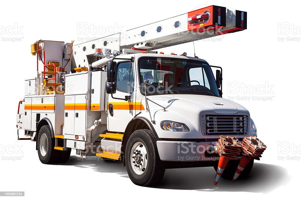 Isolated Electric Utility Truck with Clipping Path On White stock photo