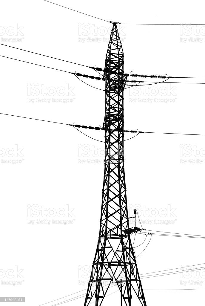 Isolated Electricity Pylon royalty-free stock photo