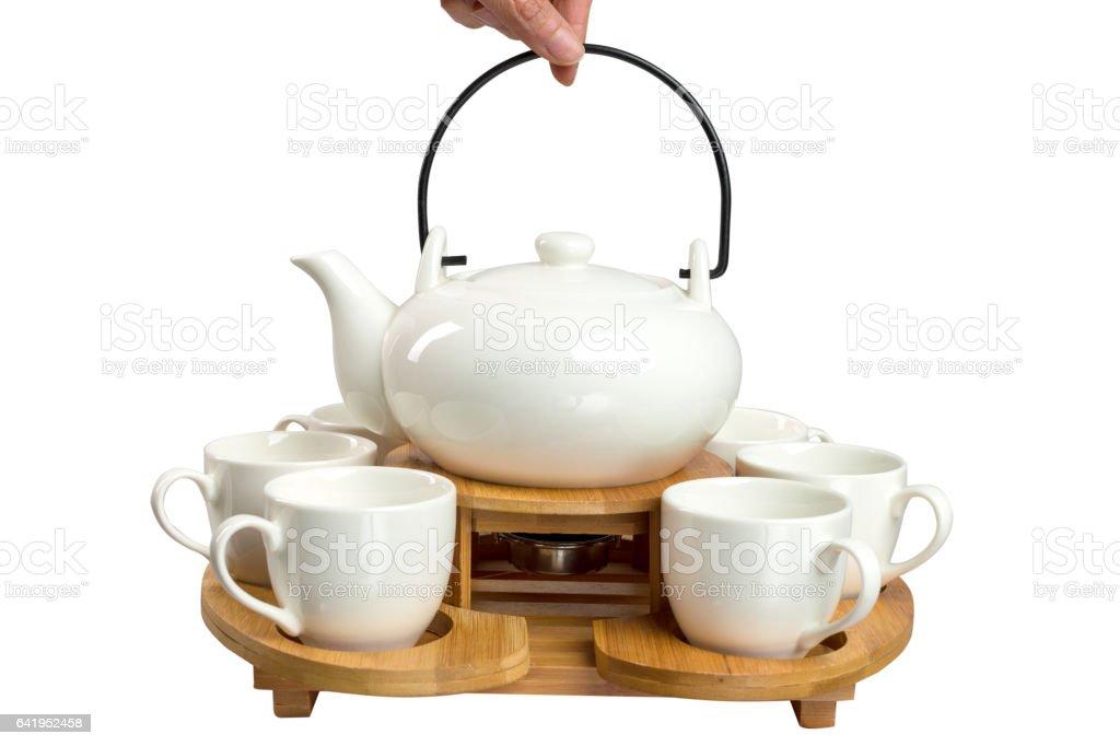 isolated elegant white tea sets on white background stock photo