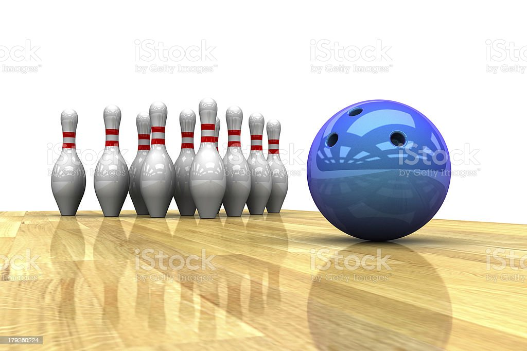 isolated elements of bowling royalty-free stock photo