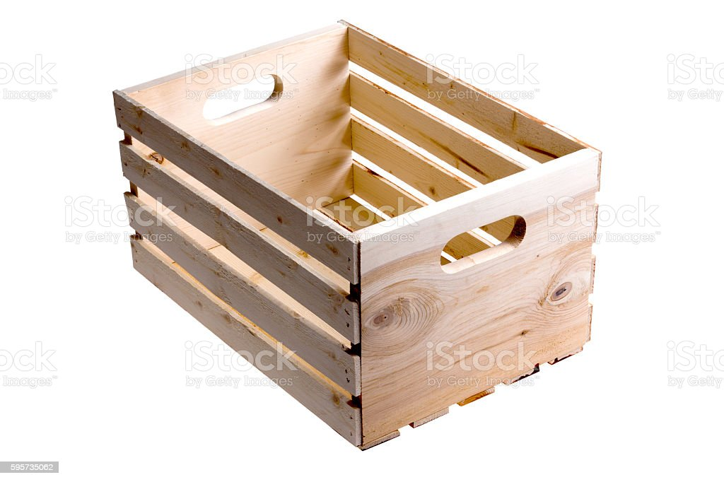 Isolated empty wooden fruit crate stock photo