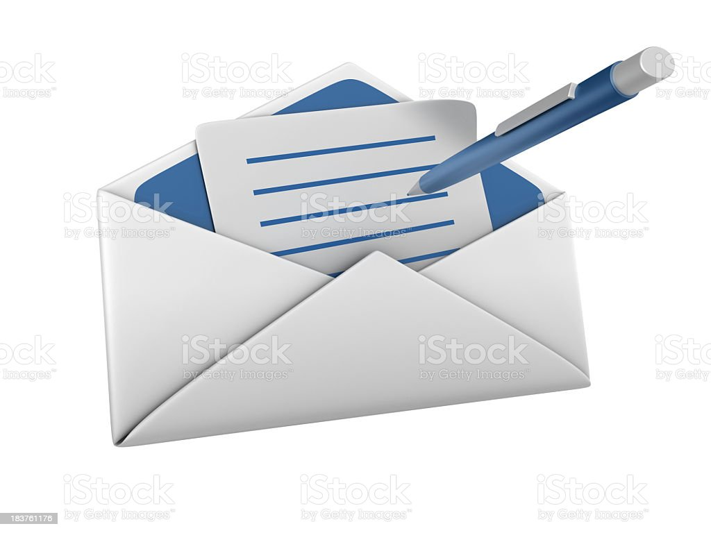 Isolated Envelope with a Pen stock photo