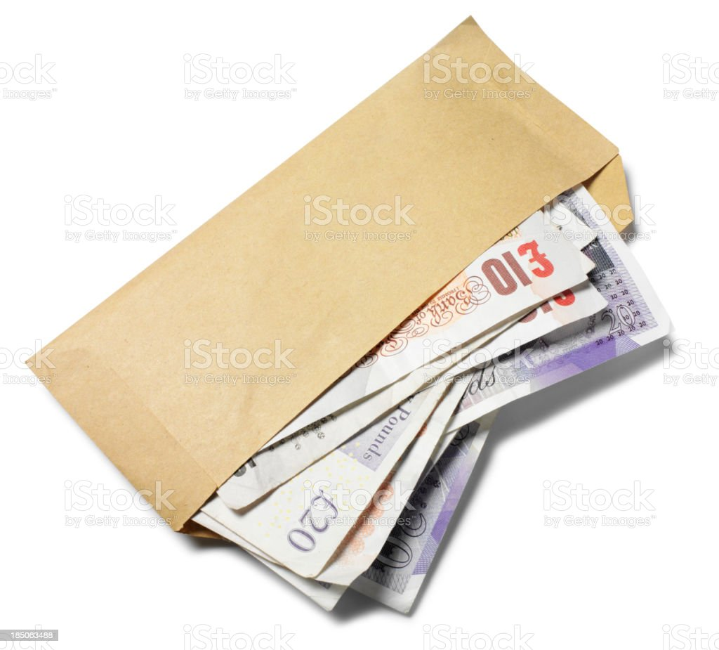 Isolated Envelope with British Pounds royalty-free stock photo