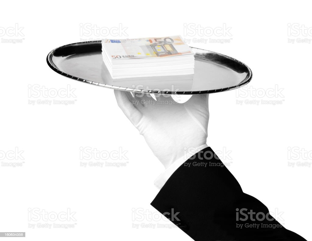 Isolated Euros, a First Class Service royalty-free stock photo