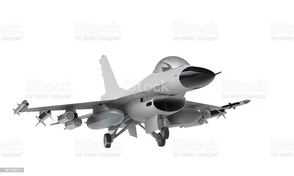 Isolated F-16 fighter jet on white background stock photo