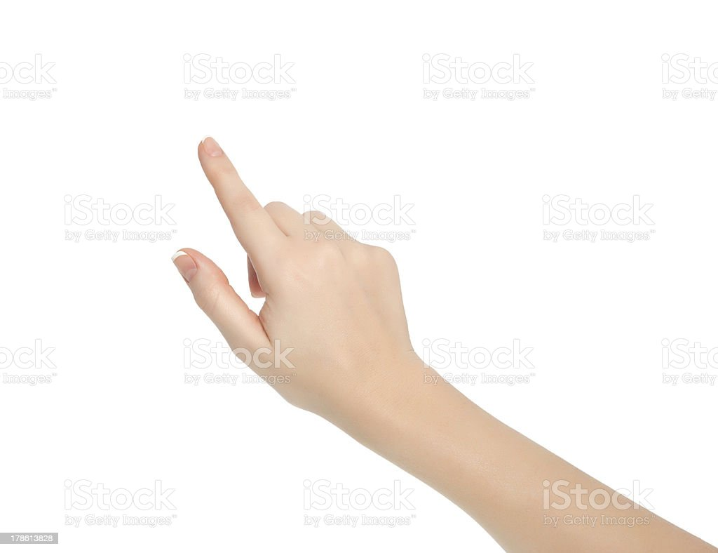 isolated female hand touching or pointing to something stock photo