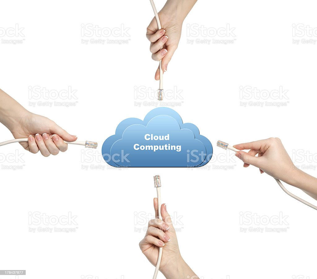 isolated female hands holding computer cables and uses cloud technology stock photo