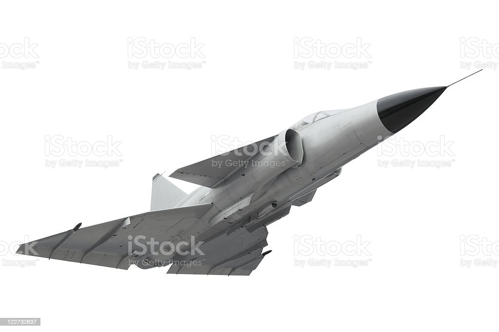 Isolated fighter plane stock photo