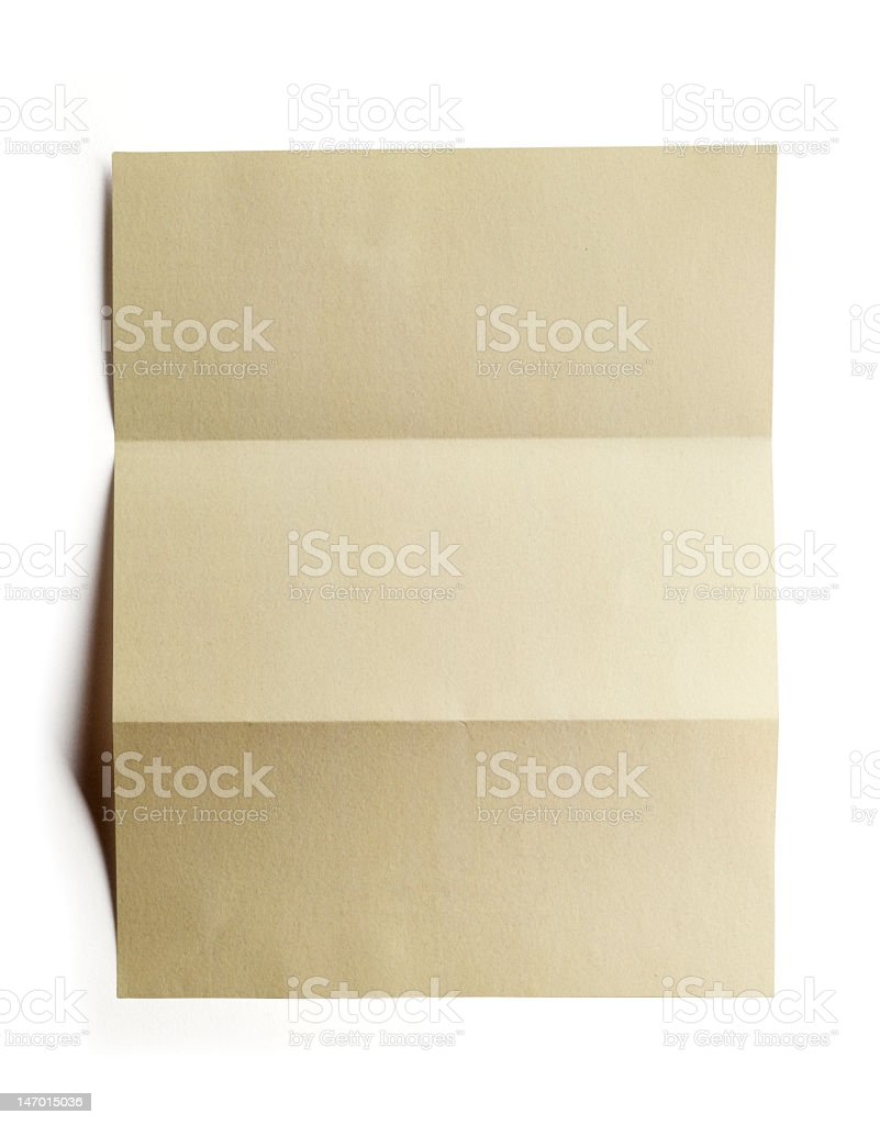 Isolated folded paper with clipping path royalty-free stock photo