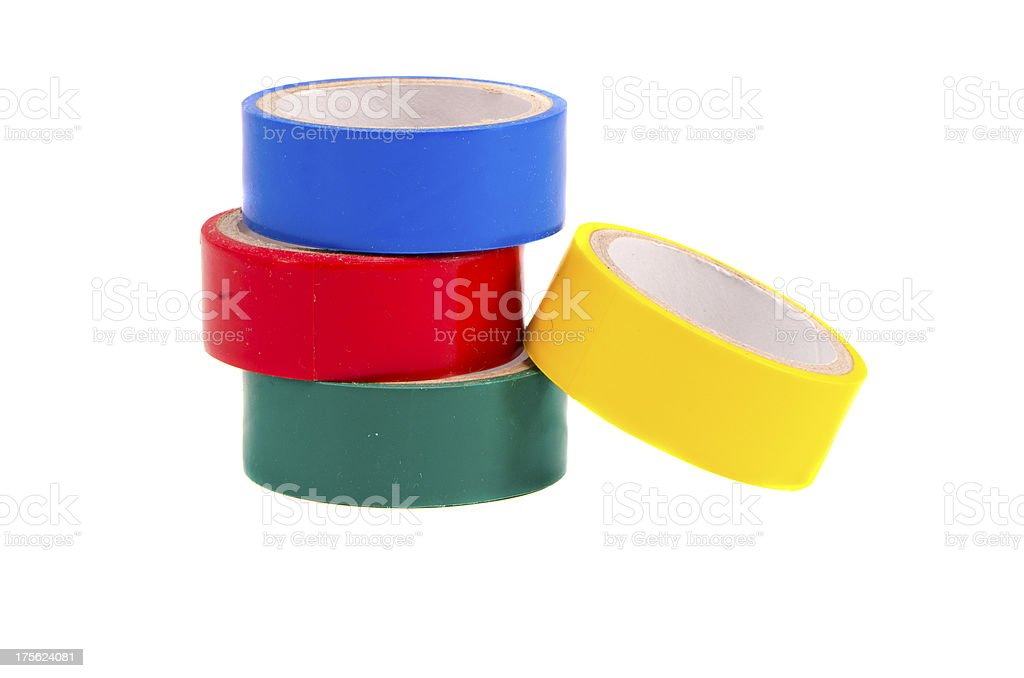 isolated four colorful insulating tapes royalty-free stock photo