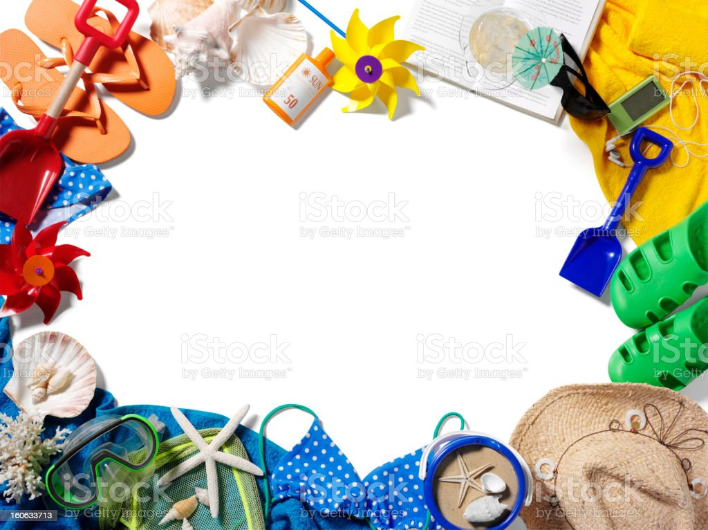 Isolated Frame of Summer Beach Accessories royalty-free stock photo
