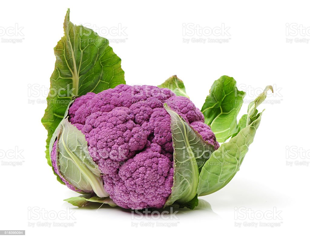 Isolated fresh lila cauliflower stock photo