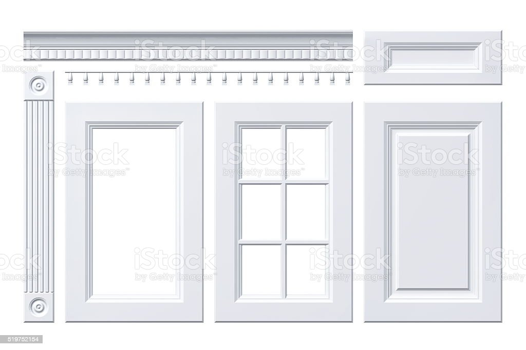 Isolated front white door, drawer, column, cornice for kitchen cabinet stock photo