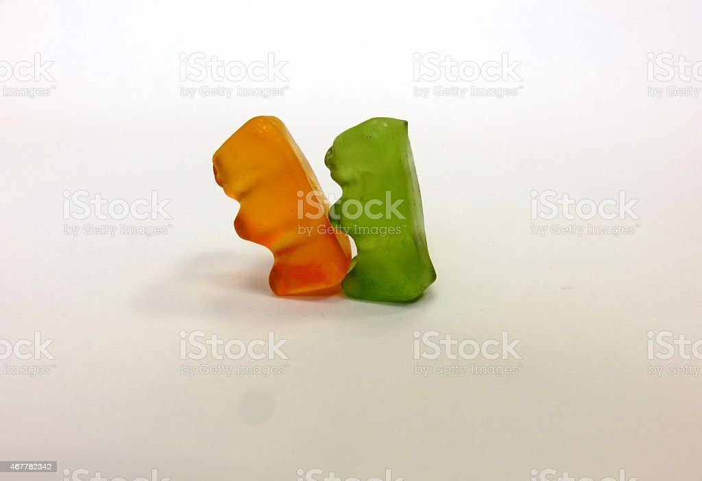 isolated fruit gummy candies stock photo