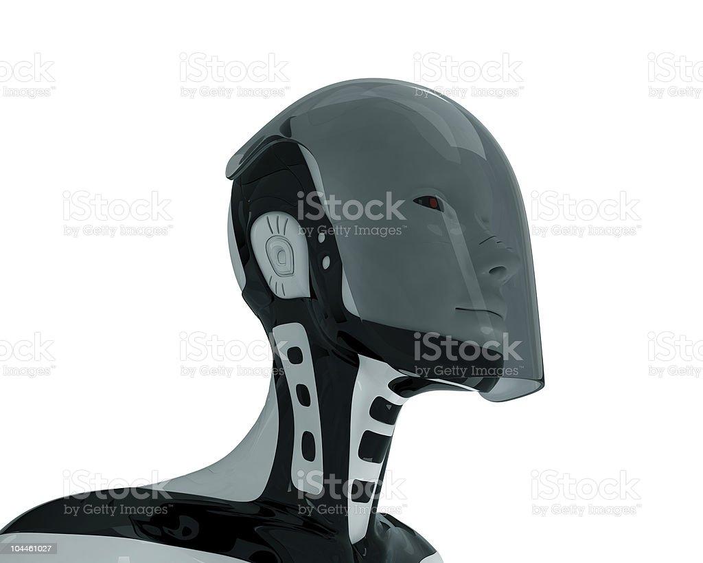 Isolated futuristic robot in glass helmet stock photo