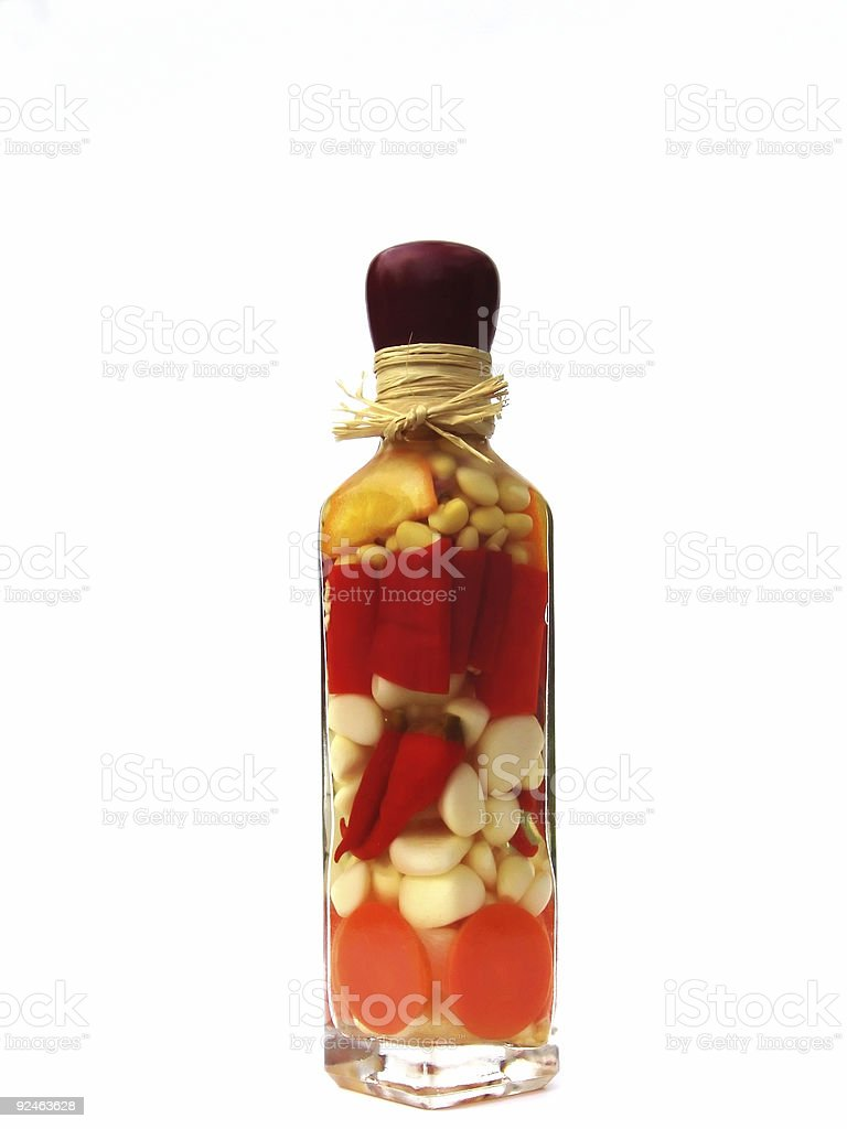 Isolated Garlic Pepper Oil stock photo