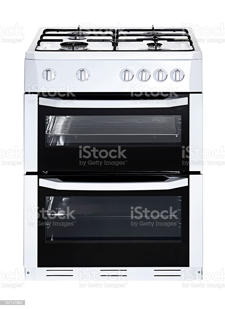 Isolated gas stove and cooktop combination stock photo
