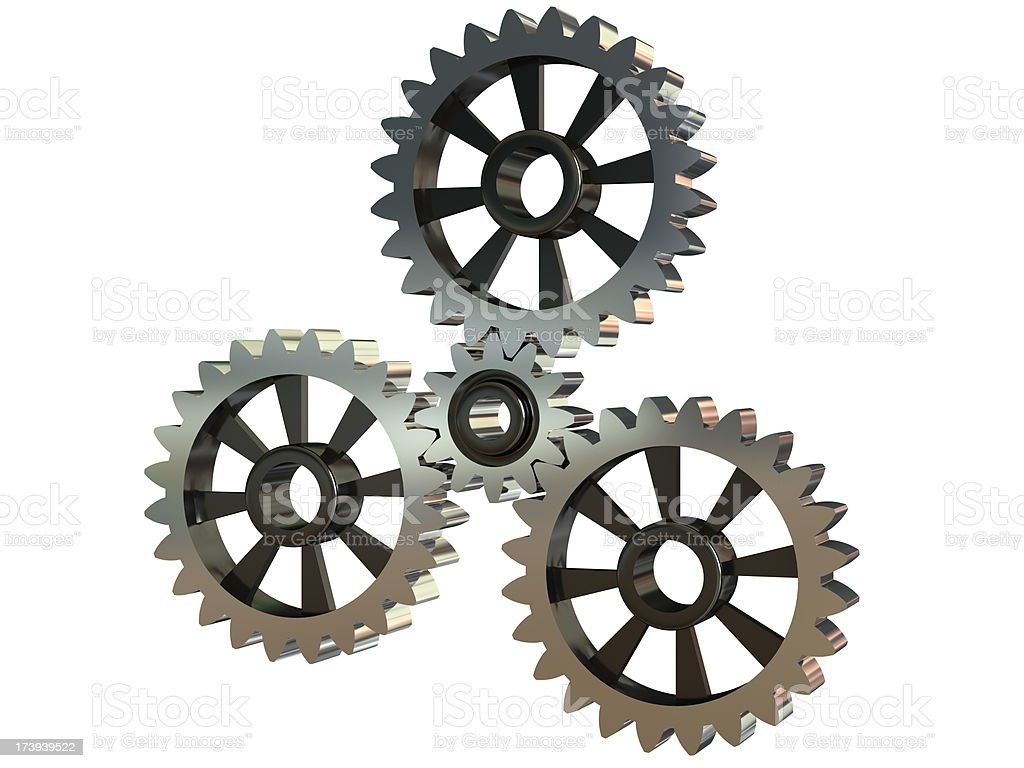 Isolated gearwheels on a white background royalty-free stock photo