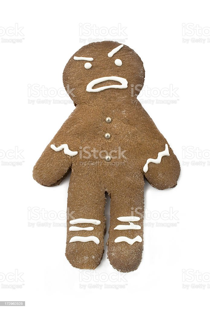 isolated gingerbread man with angry face royalty-free stock photo