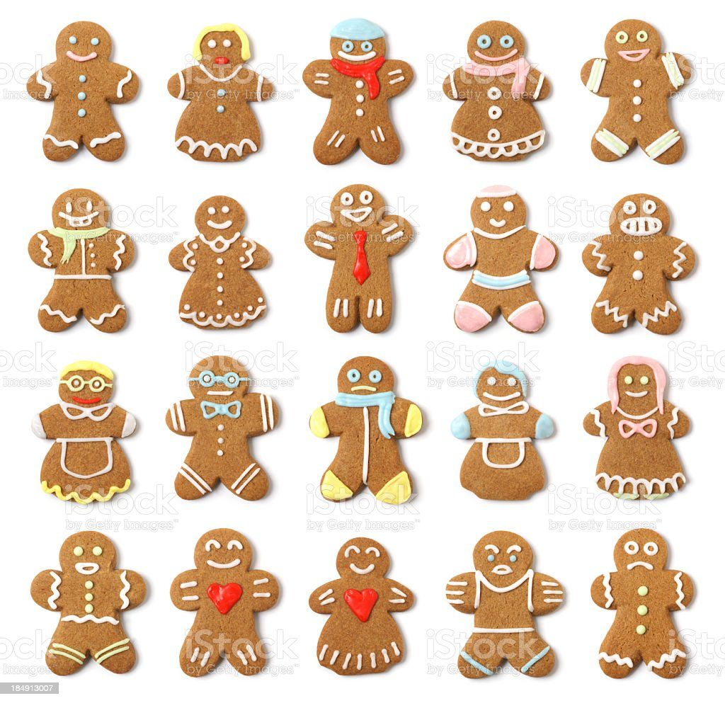 Isolated Gingerbread People Collection Assortment royalty-free stock photo