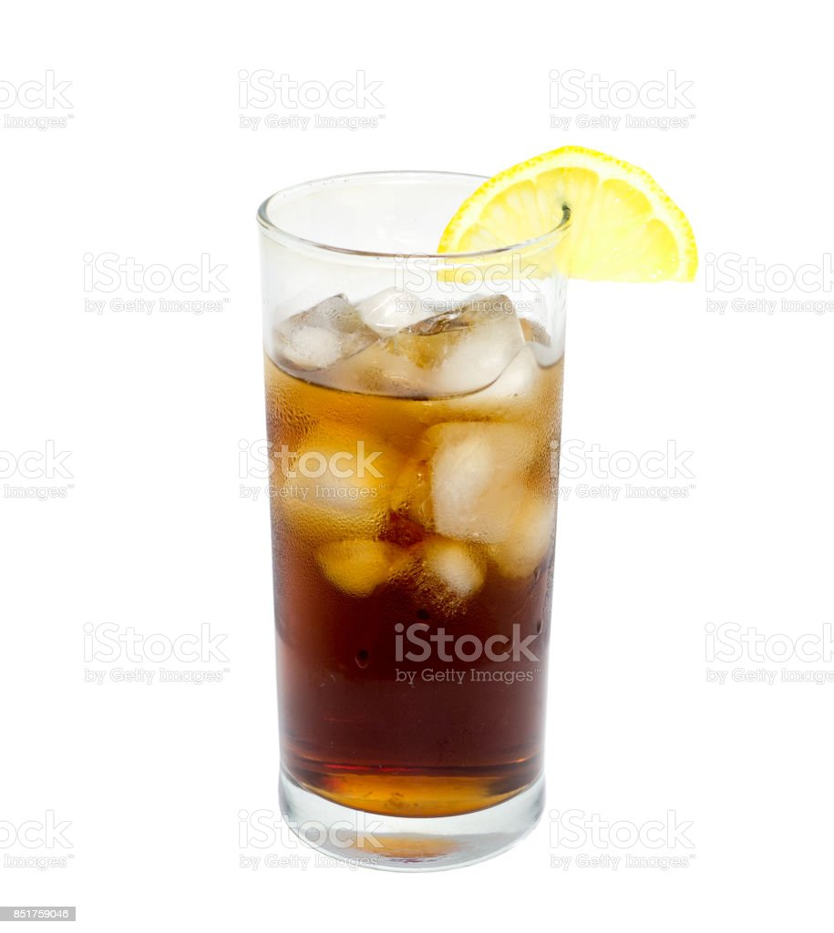 isolated glass of cocktail or tea with ice and lemon. object, beverage. stock photo