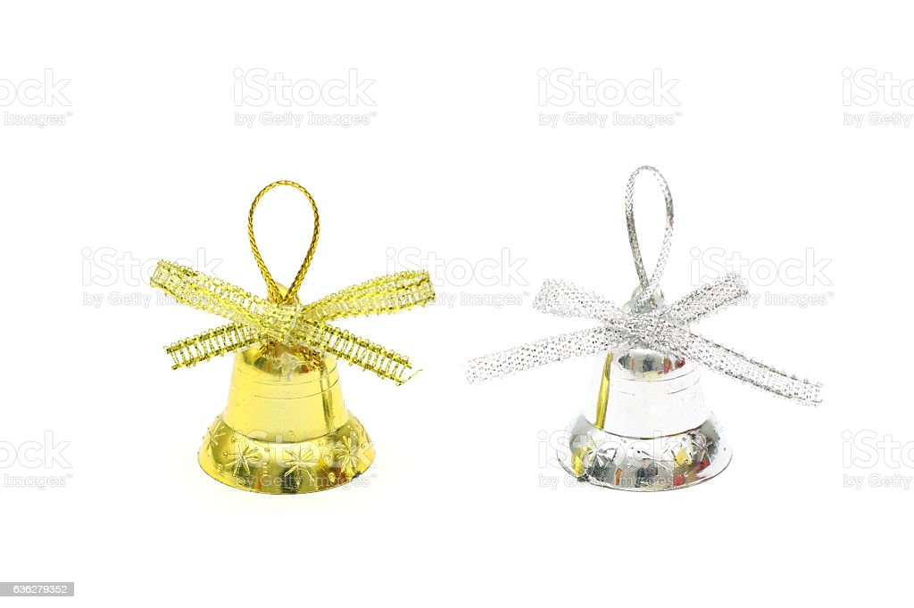 Isolated gold and silver christmas bell toy on white background stock photo