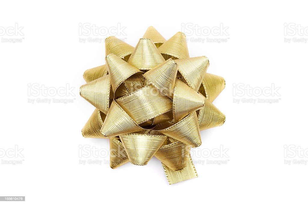 Isolated Gold Bow stock photo